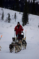 Aliy Zirkle on Trail Leaving Rainy Pass Chkpt AK 2005 Iditarod