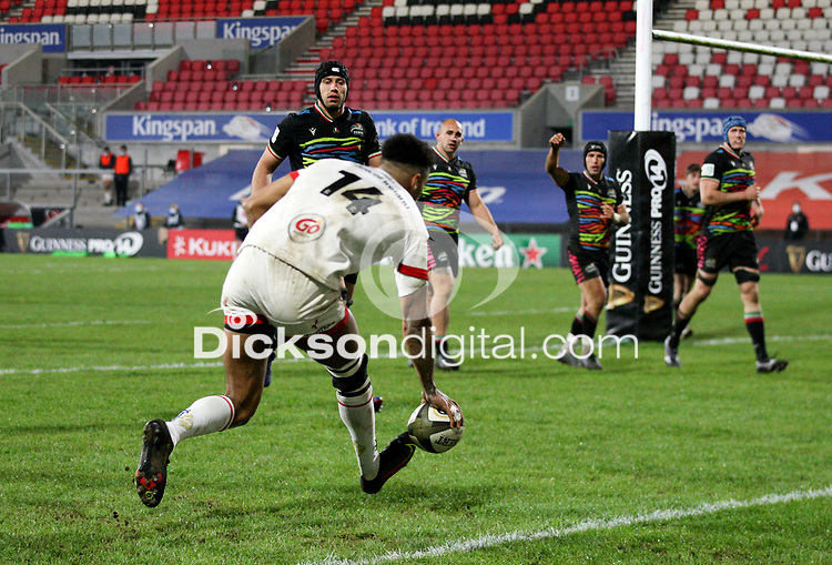 19th March 2021;   Robert Baloucoune scores during the final round of the Guinness PRO14 against Zebre Rugby held at Kingspan Stadium, Ravenhill Park, Belfast, Northern Ireland. Photo by John Dickson/Dicksondigital