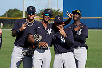 FCL Yankees (L-R) Nelson Gomez, Alexander Vargas, Madison Santos, and D'Vaughn Knowles before a game against the FCL Tigers West on July 31, 2021 at Tigertown in Lakeland, Florida.  (Mike Janes/Four Seam Images)