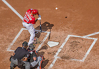 28 September 2014: Washington Nationals shortstop Ian Desmond at bat against the Miami Marlins at Nationals Park in Washington, DC. The Nationals shut out the Marlins 1-0, caping the season with the first Nationals no-hitter in modern times. The win also notched a 96 win season for the Nats: the best record in the National League. Mandatory Credit: Ed Wolfstein Photo *** RAW (NEF) Image File Available ***