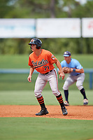 Baltimore Orioles T.J. Nichting (71) leads off first base during a Florida Instructional League game against the Tampa Bay Rays on October 1, 2018 at the Charlotte Sports Park in Port Charlotte, Florida.  (Mike Janes/Four Seam Images)