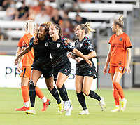 HOUSTON, TX - SEPTEMBER 10: Casey Krueger #6 of the Chicago Red Stars celebrates her goal in the second half with Danielle Colaprico #24 during a game between Chicago Red Stars and Houston Dash at BBVA Stadium on September 10, 2021 in Houston, Texas.