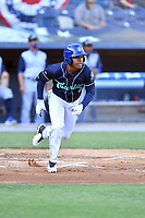 Asheville Tourists third baseman Enmanuel Valdez (2) runs to first base during a game against the Brooklyn Cyclones on May 6, 2021 at McCormick Field in Asheville, NC. (Tony Farlow/Four Seam Images)