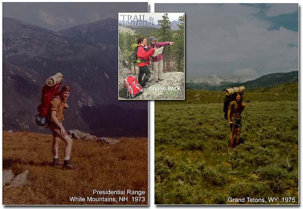 John during a four week, solo backpack on the Appalachian Trail (left). John ending a five week, solo backpack in the Wind River and Grand Teton Ranges, WY (right).  I shot this center image for the Colorado Mountain Club. Long ago, a photo similar to this enlightened me to backpacking.