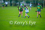 Jessica Fitzell of Kerry puts in a brave effort to block Louise O'Donoghie of Meath's effort in the Camogie Intermediate Championship