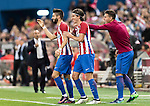 Yannick Ferreira Carrasco of Atletico de Madrid celebrates with teammate Filipe Luis during their La Liga match between Atletico de Madrid and Granada CF at the Vicente Calderon Stadium on 15 October 2016 in Madrid, Spain. Photo by Diego Gonzalez Souto / Power Sport Images