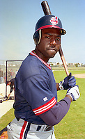 Cleveland Indians Reggie Jefferson (44) during Spring Training 1993 at Chain of Lakes Park in Winter Haven, Florida.  (MJA/Four Seam Images)