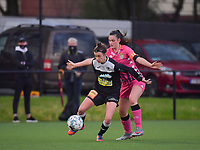 Justine Blave (22) of Eendracht Aalst and Noemie Fourdin (11) of Sporting Charleroi in action during a female soccer game between Sporting Charleroi and Eendracht Aalst on the 8th matchday in play off 2 of the 2020 - 2021 season of Belgian Scooore Womens Super League , tuesday 18 th of May 2021  in Marcinelle , Belgium . PHOTO SPORTPIX.BE   SPP   STIJN AUDOOREN