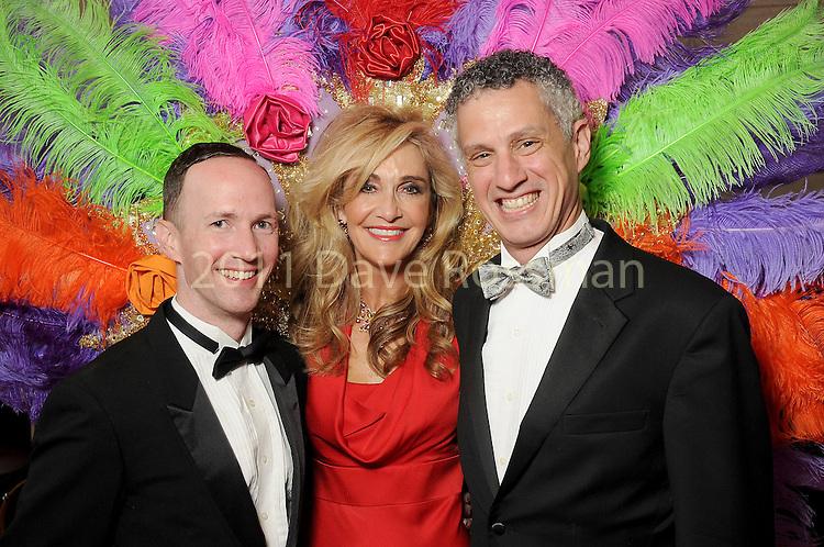"Jana Arnoldy with honorees Brandon Atkins,L, and Robert Franz at the 2016 Houston Symphony Gala ""Carnaval"" at Jones Hall Saturday May 14,2016(Dave Rossman Photo)"