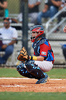 Julian Hernandez (9) during the Dominican Prospect League Elite Florida Event at Pompano Beach Baseball Park on October 14, 2019 in Pompano beach, Florida.  (Mike Janes/Four Seam Images)