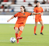 HOUSTON, TX - SEPTEMBER 10: Allysha Chapman #2 of the Houston Dash passes the ball to a teammate during a game between Chicago Red Stars and Houston Dash at BBVA Stadium on September 10, 2021 in Houston, Texas.