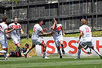 Waitakere United Team celebrates a goal during the ISPS Handa Men's Premiership - Team Wellington v Waitakere Utd at David Farrington Park,Wellington on Saturday 30 January 2021.<br /> Copyright photo: Masanori Udagawa /  www.photosport.nz