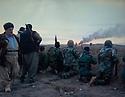 Iraq 2014, November 26, on the front near Kirkouk, Hama Haji Mahmoud and his peshmergas and oil well burning  Irak 2014  Le 26 novembre, sur le front pres de Kirkouk, Hama Haji Mahmoud et ses peshmergas et un puit de petrole qui brule
