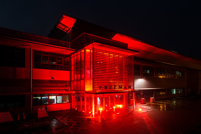 Freeman lit up their Headquarters in red, in protest of the government handling of the coronavirus outbreak response in Coventry, Wednesday, 30th of September 2020. The protest has been organised by We Stand As One #WeMakeEvents who are calling for meaningful support from the Government until the industry is allowed to operate for an industry that provides over 600,000 jobs in UK. Photo: AMMP/Maciek Musialek