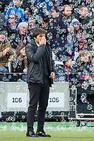 Chelsea manager Antonio Conte holds his head during the Premier League match between West Ham United and Chelsea at the Olympic Park, London, England on 9 December 2017. Photo by Andy Rowland.