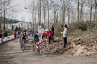 Edward Theuns (BEL/Trek-Segafredo) ahead of Greg Van Avermaet (BEL/BMC) up the Baneberg<br /> <br /> 79th Gent-Wevelgem 2017 (1.UWT)<br /> 1day race: Deinze › Wevelgem - BEL (249km)