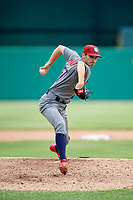 Lehigh Valley IronPigs relief pitcher Hoby Milner (57) delivers a pitch during a game against the Syracuse Chiefs on May 20, 2018 at NBT Bank Stadium in Syracuse, New York.  Lehigh Valley defeated Syracuse 5-2.  (Mike Janes/Four Seam Images)