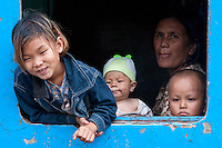 Myanmar, Burma.  Passengers on Train at Kalaw Train Station.