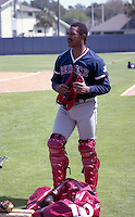 Boston Red Sox catcher Tony Pena (6) during spring training circa 1992 at Chain of Lakes Park in Winter Haven, Florida.  (MJA/Four Seam Images)