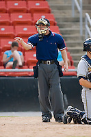 Home plate umpire Will Little signals a strike in the South Atlantic League contest between the Charleston RiverDogs and the Hickory Crawdads at L.P. Frans Stadium in Hickory, NC, Sunday, May 4, 2008.