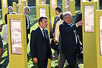 President Emmanuel Macron strolls through the exhibit of the 100 years of the Yellow Jersey with Francois Bayrou Mayor of Pau during Stage 13 of the 2019 Tour de France an individual time trial running 27.2km from Pau to Pau, France. 19th July 2019.<br /> Picture: ASO/Pauline Ballet | Cyclefile<br /> All photos usage must carry mandatory copyright credit (© Cyclefile | ASO/Pauline Ballet)