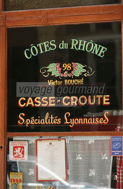 """Europe/France/Rhône-Alpes/69/Rhone/Lyon: Détail devanture du Bouchon """"Le Café des Fédérations"""" rue du Major Martin"""