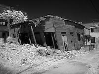 Leaning old damaged home in Lawton area of Havana Cuba Habana