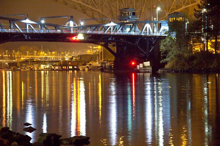 Seattle, Fremont bridge, night, aging infrastructure, Lake Washington Ship Canal, Queen Anne neighborhood, Washington State, Pacific Northwest, USA,