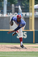 Frisco RoughRiders pitcher James Jones (20) during a Texas League game against the Midland RockHounds on May 22, 2019 at Dr Pepper Ballpark in Frisco, Texas.  (Mike Augustin/Four Seam Images)