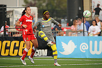 Danesha Adams (9) of the Philadelphia Independence plays the ball in front of Brittany Bock (21) of the Western New York Flash. The Western New York Flash defeated the Philadelphia Independence 5-4 in a penalty kick shootout after playing to a 1-1 tie during the Women's Professional Soccer (WPS) Championship presented by Citi at Sahlen's Stadium in Rochester NY, on August 27, 2011.