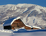 The historic Moore barn in Steamboat Springs, Colorado after a heavy snow storm.