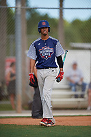 Daylen Xavier Carter during the WWBA World Championship at the Roger Dean Complex on October 18, 2018 in Jupiter, Florida.  Daylen Xavier Carter is a first baseman from West Sacramento, California who attends Capital Christian High School.  (Mike Janes/Four Seam Images)