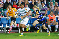 20120803 Copyright onEdition 2012©.Free for editorial use image, please credit: onEdition..Jonathan Joseph of London Irish looks for support as he is caught by Tom Biggs of Bath Rugby at The Recreation Ground, Bath in the Final round of The J.P. Morgan Asset Management Premiership Rugby 7s Series...The J.P. Morgan Asset Management Premiership Rugby 7s Series kicked off again for the third season on Friday 13th July at The Stoop, Twickenham with Pool B being played at Edgeley Park, Stockport on Friday, 20th July, Pool C at Kingsholm Gloucester on Thursday, 26th July and the Final being played at The Recreation Ground, Bath on Friday 3rd August. The innovative tournament, which involves all 12 Premiership Rugby clubs, offers a fantastic platform for some of the country's finest young athletes to be exposed to the excitement, pressures and skills required to compete at an elite level...The 12 Premiership Rugby clubs are divided into three groups for the tournament, with the winner and runner up of each regional event going through to the Final. There are six games each evening, with each match consisting of two 7 minute halves with a 2 minute break at half time...For additional images please go to: http://www.w-w-i.com/jp_morgan_premiership_sevens/..For press contacts contact: Beth Begg at brandRapport on D: +44 (0)20 7932 5813 M: +44 (0)7900 88231 E: BBegg@brand-rapport.com..If you require a higher resolution image or you have any other onEdition photographic enquiries, please contact onEdition on 0845 900 2 900 or email info@onEdition.com.This image is copyright the onEdition 2012©..This image has been supplied by onEdition and must be credited onEdition. The author is asserting his full Moral rights in relation to the publication of this image. Rights for onward transmission of any image or file is not granted or implied. Changing or deleting Copyright information is illegal as specified in the Copyright, Design and Patents Act 1988. If you are in any way unsure of