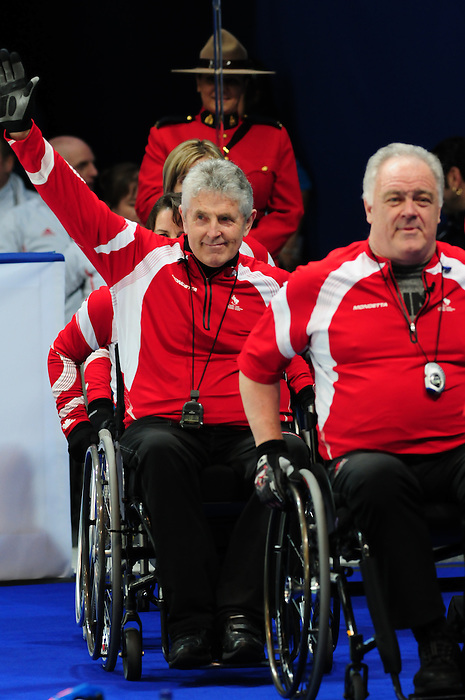 Jim Armstrong and Darryl Neighbour, Vancouver 2010 - Wheelchair Curling // Curling en fauteuil roulant.<br /> Team Canada competes in Wheelchair Curling // Équipe Canada participe en curling en fauteuil roulant. 17/03/2010.