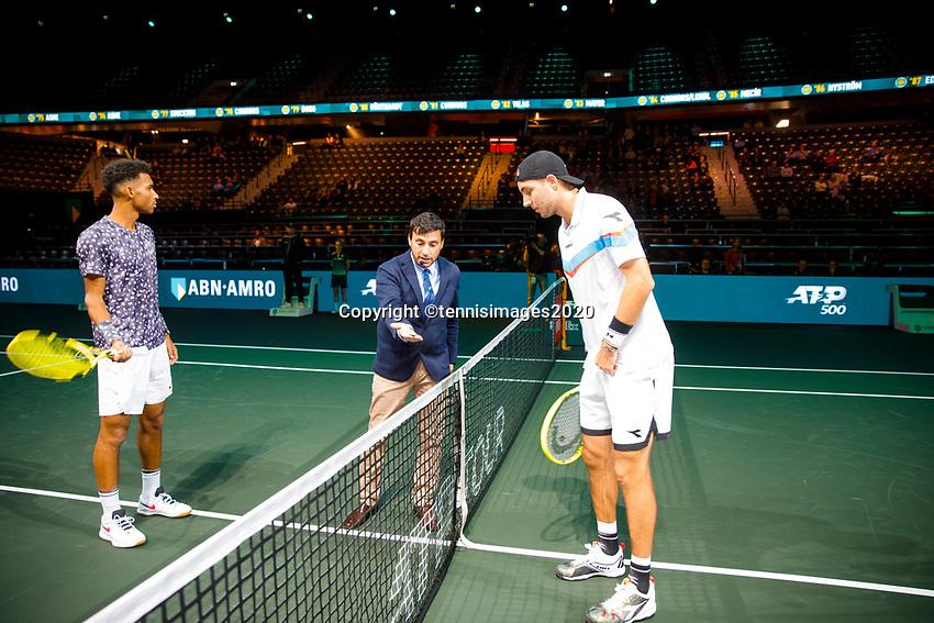 Rotterdam, The Netherlands, 11 Februari 2020, ABNAMRO World Tennis Tournament, Ahoy, <br /> Felix Auger-Aliassime (CAN), Jan-Lennard Struff (GER). <br /> Photo: www.tennisimages.com