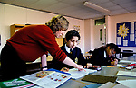 Secondary School 1990s UK.  English taught as foreign language Greenford High School, Middlesex  London 1990 UK.  Teacher with mixed ethnic group.