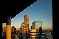 Charlotte North Carolina skyline photography in Uptown Charlotte. Buildings shown in photo include the Wells Fargo buildings (middle), Bank of America tower and Hearst Tower.   <br /> <br /> Charlotte Photographer - PatrickSchneiderPhoto.com