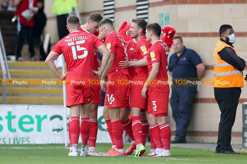 Aaron Drinan of Leyton Orient scores the first goal for his team and celebrates with his team mates during Leyton Orient vs Oldham Athletic, Sky Bet EFL League 2 Football at The Breyer Group Stadium on 11th September 2021