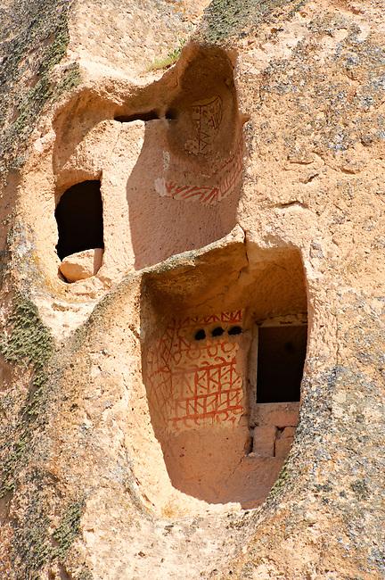 Troglodyte cave houses in tuff volcanic rock at Uchisar, Cappadocia, Anatolia, Turkey