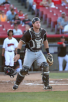 Troy Stein (8) of the Modesto Nuts waits for the throw during a game against the High Desert Mavericks at Heritage Field on June 3, 2016 in Adelanto, California. Modesto defeated High Desert, 2-1. (Larry Goren/Four Seam Images)