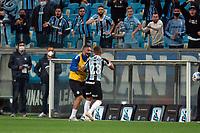 6th October 2021; Arena do Gremio, Porto Alegre, Brazil; Brazilian Serie A, Gremio versus Cuiaba; Alisson of Gremio celebrates his goal with Diego Souza in the 52nd minute 1-1