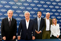 Lorenzo Cesa of UDC party, the europarlamentarian Antonio Tajani of Forza Italia party the leader of Lega right party Matteo Salvini, the candidate mayor of Rome for the right-center coalition Enrico Michetti and the leader of Fratelli d Italia right party Giorgia Meloni pose for a picture prior to an electoral campaign press conference for the mayoral election in Spinaceto, a peripheral neighborhood in the west of Rome on October 1st 2021. Photo Andrea Staccioli Insidefoto