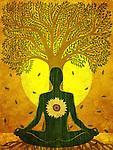Illustration of man meditating against tree and sun