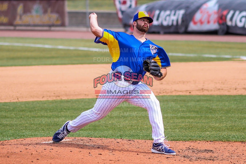 Wisconsin Timber Rattlers pitcher Dalton Brown (31) delivers a pitch during a Midwest League game against the Quad Cities River Bandits on April 9, 2017 at Fox Cities Stadium in Appleton, Wisconsin.  Quad Cities defeated Wisconsin 17-11. (Brad Krause/Four Seam Images)