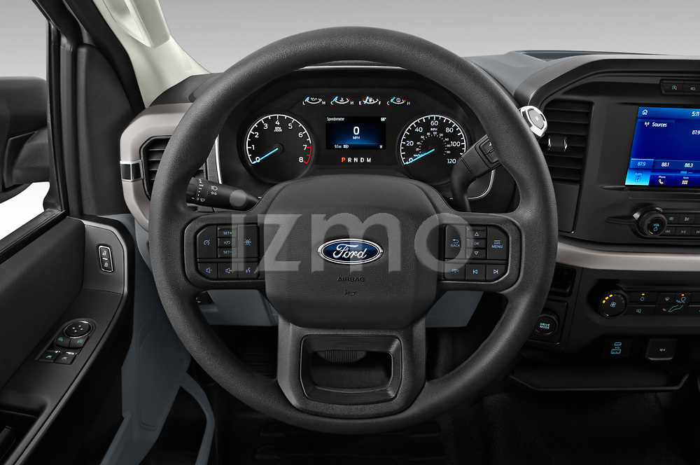 Car pictures of steering wheel view of a 2021 Ford F-150 XL 4 Door Pick-up Steering Wheel