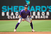 Fort Myers Mighty Mussels shortstop Will Holland (4) during a game against the Clearwater Threshers on July 29, 2021 at BayCare Ballpark in Clearwater, Florida.  (Mike Janes/Four Seam Images)