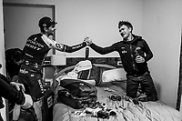 stage winner Mikel Nieve (ESP/Mitchelton-Scott)  returns to his teammates in the hotel where they congratulate him on his win (and 34th birthday!)<br /> <br /> stage 20: Susa - Cervinia (214km)<br /> 101th Giro d'Italia 2018