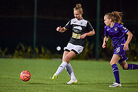 Aalst's midfielder Margaux Van Ackere (37) and Anderlecht forward Jarne Teulings (16) pictured during a female soccer game between RSC Anderlecht Dames and Eendracht Aalst Ladies  on the fourth matchday of the 2020 - 2021 season of Belgian Womens Super League , Tuesday 13 th of October 2020  in ANDERLECHT , Belgium . PHOTO SPORTPIX.BE | SPP | STIJN AUDOOREN