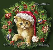 Marcello, CHRISTMAS ANIMALS, WEIHNACHTEN TIERE, NAVIDAD ANIMALES, paintings+++++,ITMCXM1521,#XA# ,Christmas wreath