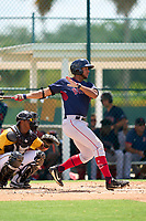 FCL Red Sox first baseman Cuba Bess (49) bats during a game against the FCL Pirates Gold on August 2, 2021 at Pirate City in Bradenton, Florida.  (Mike Janes/Four Seam Images)
